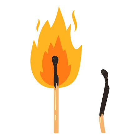 match day fkat vector design illustration, two matches burned and in fire
