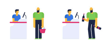 Good and bad customer behavior concept, polite and ugly man buying things in the shop. Flat design vector illustration.