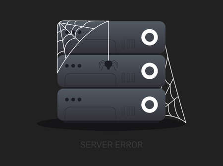 server error flat design illustration with the spy, modern security concept, cyber attack