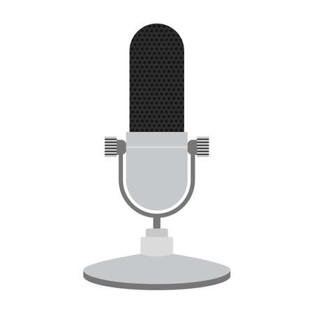 Podcast radio icon illustration. Studio table microphone.