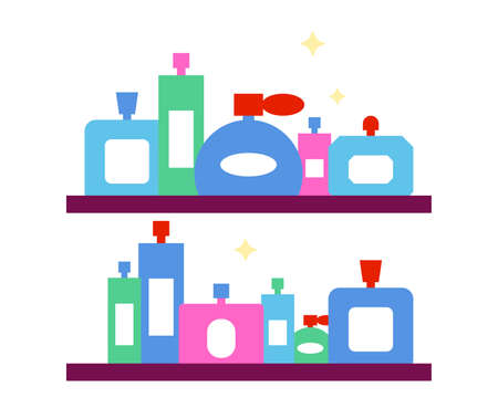 Two shelves of Perfumes collection, vector flat design illustration.