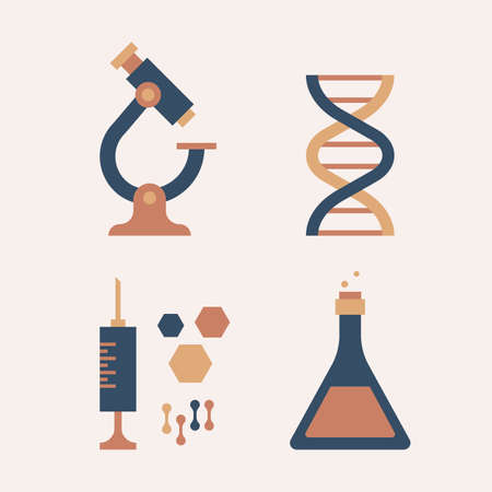 science icons, flat design vector icons set