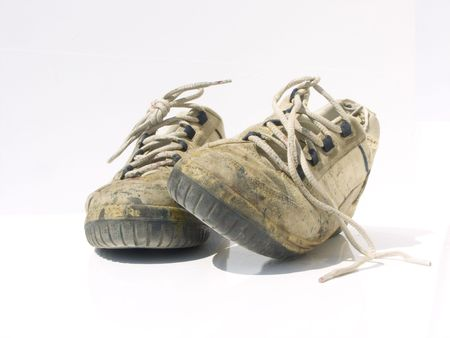 old shoes on white background Stock Photo