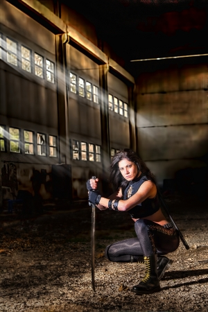 slasher: warrior girl Stock Photo