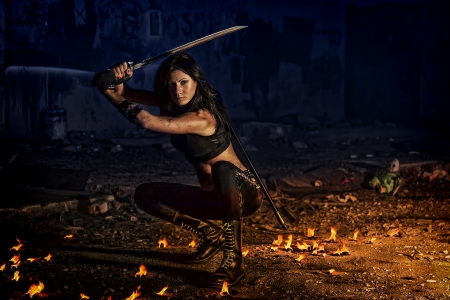 warrior girl Stock Photo - 17387125