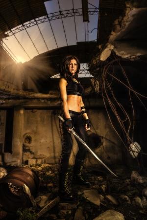 grundge: warrior girl Stock Photo