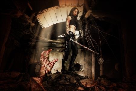 slayer: warrior girl Stock Photo