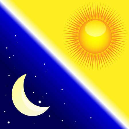 zon maan: nacht en dag Stock Illustratie