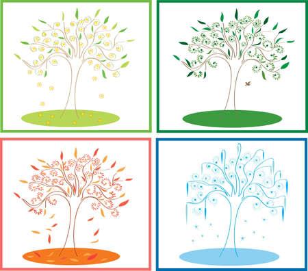 tree four seasons Stock Vector - 9846062