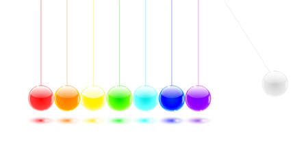 Newtons cradle color balls