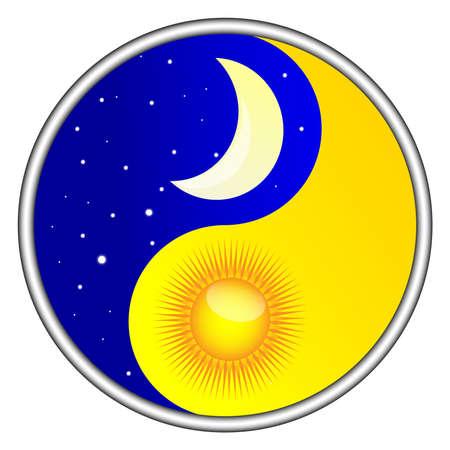 zon maan: dag en nacht yin yang