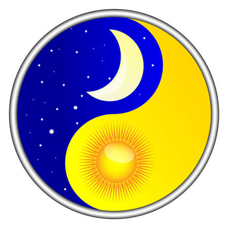 day and night yin yang Vector