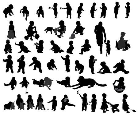 children silhouettes lory Vector
