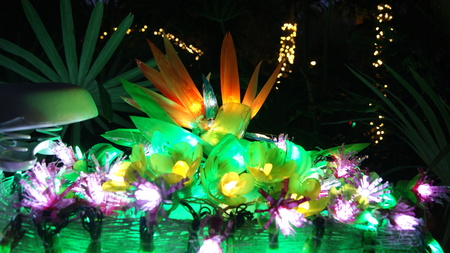 Close up picture of a flower of paradise made with fairy christmas lights shining at night in a garden