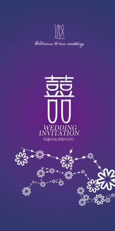 Blue purple wedding invitation invitation Vector