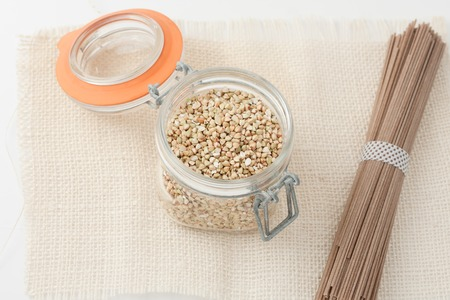 unroasted: raw unroasted buckwheat groats and japanese soba noodles