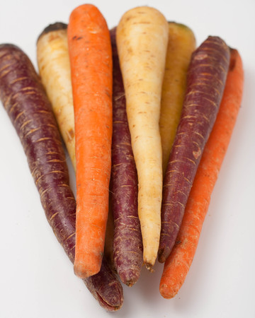 parsnips: different colored fresh picked carrots and parsnips on isolated on white background
