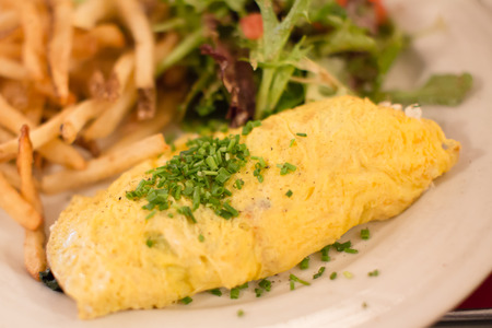 ugly plate of omlette with green chives on top with french fries, selective focus Stockfoto