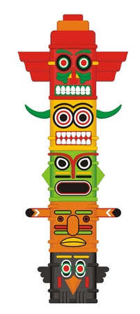 totem: Totem pole Indian Vector illustration
