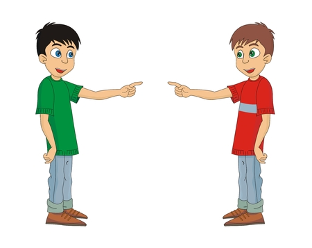 Boy is pointing by finger cartoon vector illustration