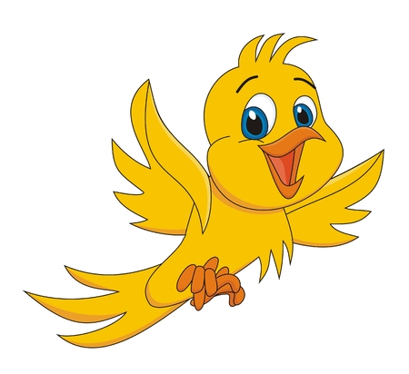 cartoon birds: Bird yellow cartoon vector illustration  Illustration
