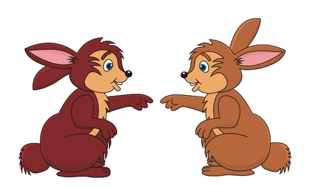 Two rabbits bunny cartoon vector illustration
