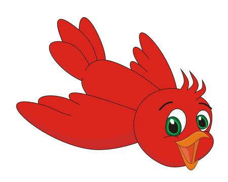 鳥赤漫画イラスト  イラスト・ベクター素材
