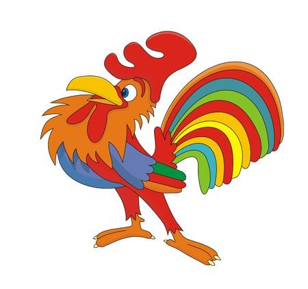 animal cock: Cazzo chanticleer Gallo fumetto illustrazione  Vettoriali