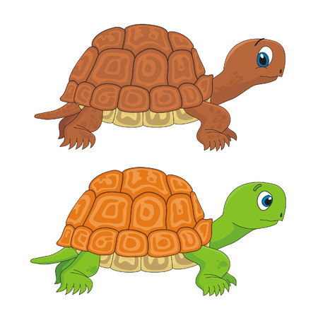 despacio: Ilustración de dibujos animados de tortuga de tortuga