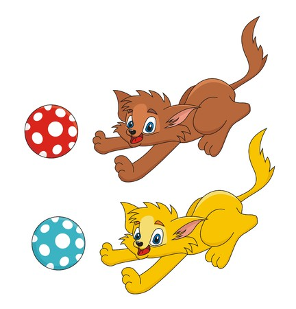 Cat is playing with ball cartoon