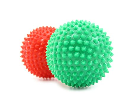 Balls red and green with pins Stock Photo