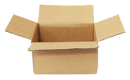 Open cardboard box used isolated on white background
