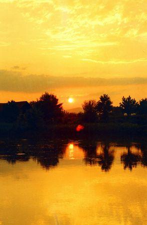 morava: Sunset on Morava river