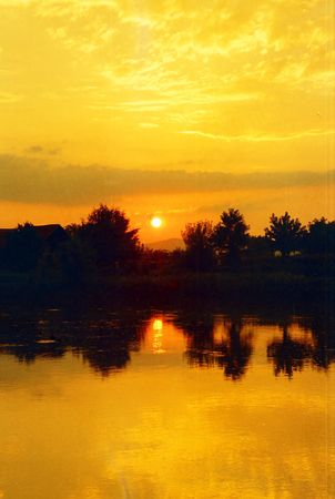 morava: Sunset over the river Morava Stock Photo