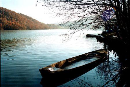 morava: A frozen boat on the river Morava