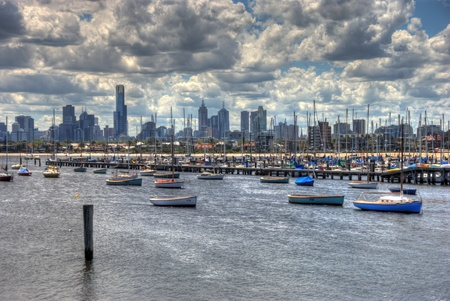 st kilda: Boats in St Kilda marina, Melbourne, Australia