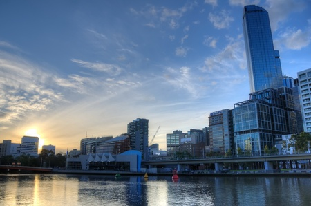 View of Melbourne City from the south bank of the Yarra river photo
