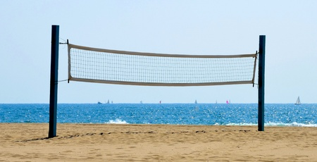 Beach volleyball net on a Californian sand beach photo