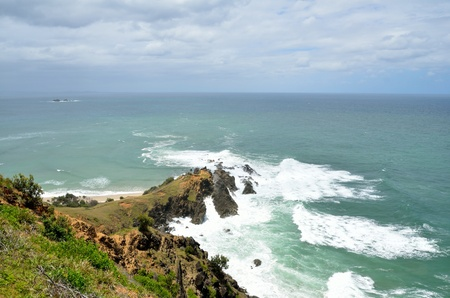 lookout: View of Pacific Ocean from a lookout above Cape Byron, Australia Stock Photo