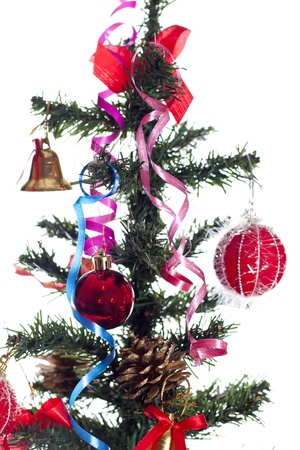 Christmas tree with red toys photo