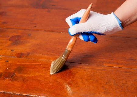 lacquered: brush against the lacquered floor Stock Photo