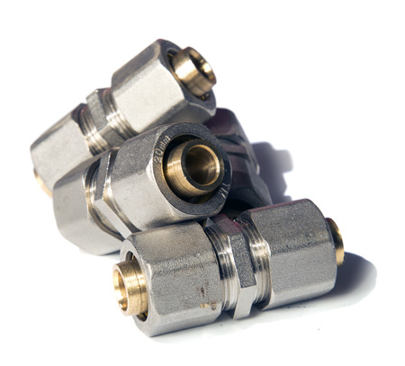 coupling fittings on white background