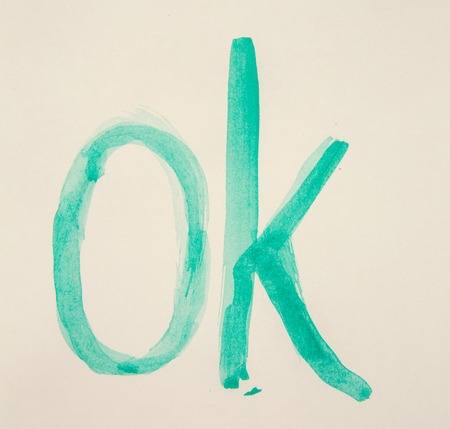 approbation: ok sign with green paint