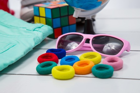 scrunchy: safety glasses in a pink frame and scrunchy