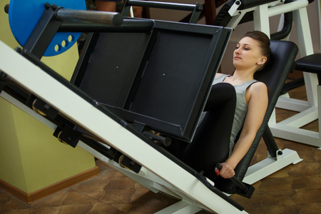 simulator: girl practicing on the simulator at the gym Stock Photo
