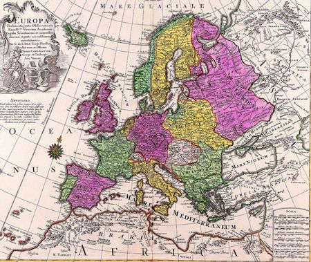 Old map of Europe as a background Stock Photo