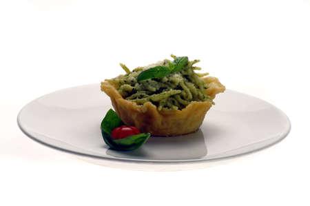 Trofie pesto parmesan wafer Stock Photo - 13342005