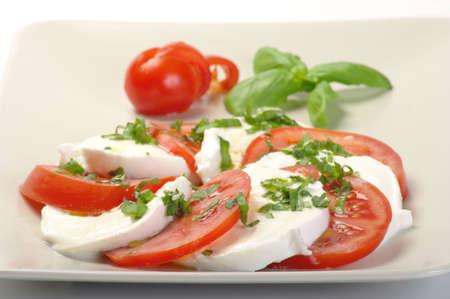 caprese: Caprese on a white plate