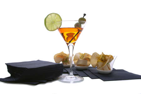 aperitif with cocktails roulade on a white background