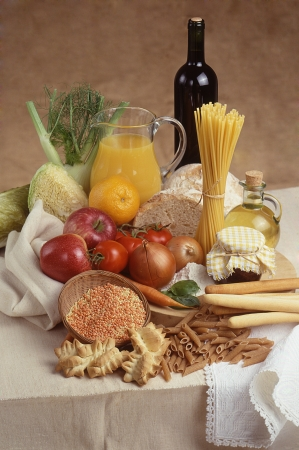composition of food on linen tablecloth photo
